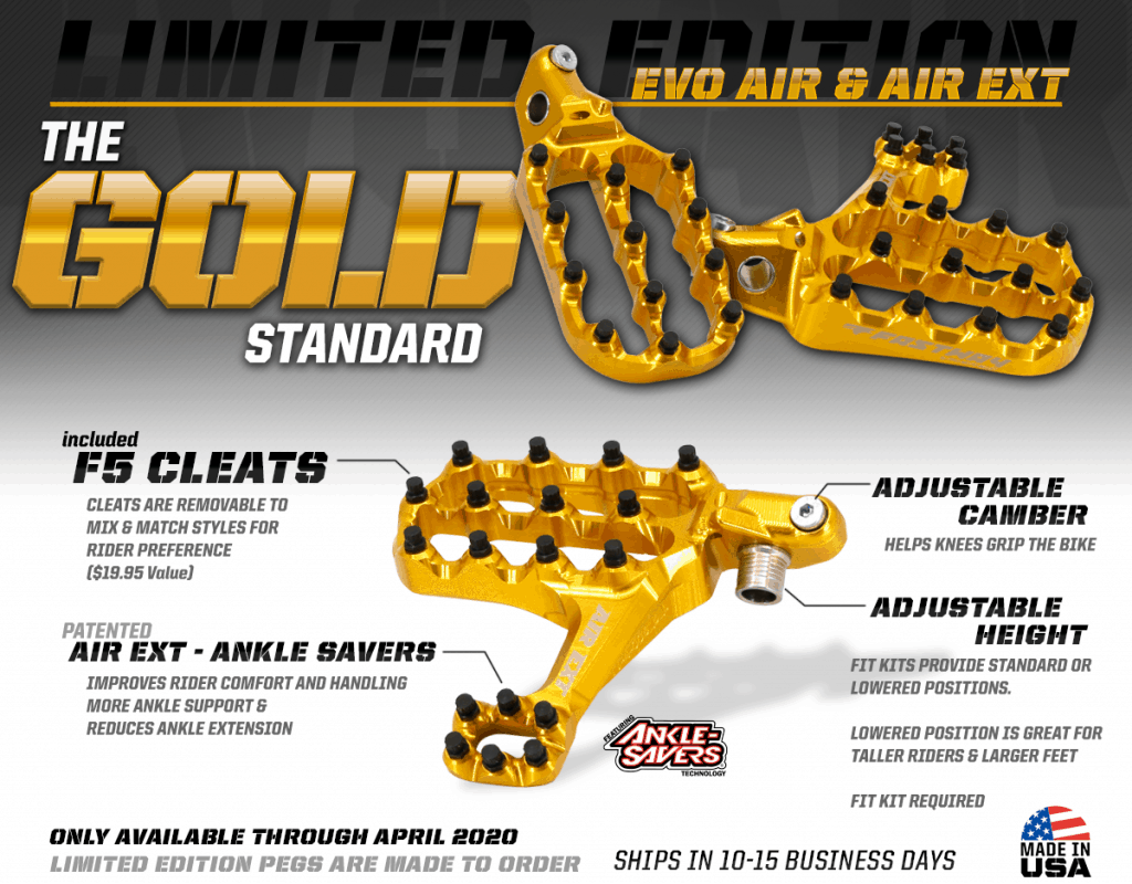 Fastway Limited Edition Gold Motocross Footpegs