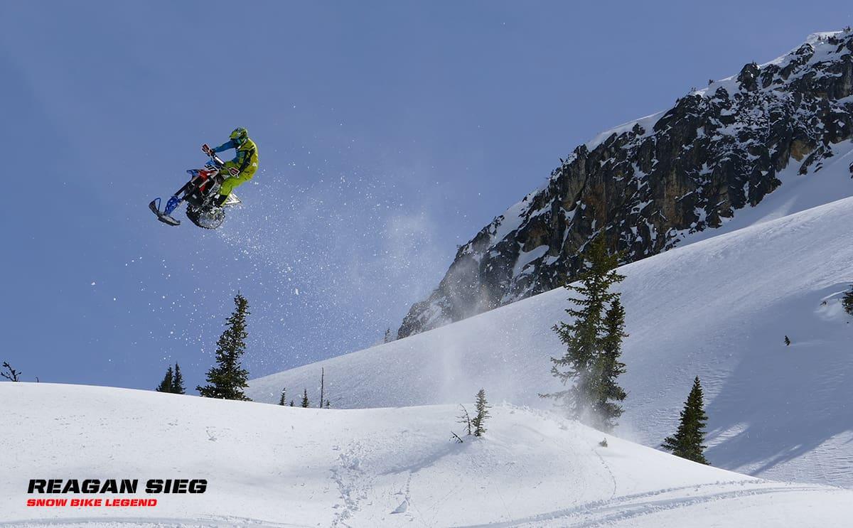 Reagan Sieg Snow Bike Rider Jumps with Fastway Footpegs